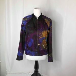 Women's Size small sparkle and fade galaxy zip up